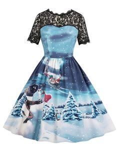 Hepburn Vintage Series Women Dress Spring And Summer Round Neck Christmas  Printing Lace-stitching Design Sleeveless Corset Dress - BLUE M 2375cac45613