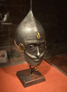 Replica Kiptschakischer mask helmet from the 13th century, Archaeological Museum Krakow.