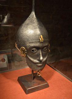 Replica Kiptschakischer mask helmet from the 13th century, Archaeological Museum Krakow.
