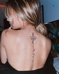 Dainty Tattoos, Pretty Tattoos, Mini Tattoos, Small Tattoos, Tasteful Tattoos, Spine Tattoos For Women, Back Tattoo Women, Tattoo On Back, Floral Tattoo Design