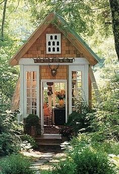 "potting shed--would LOVE this in my back yard. More like a ""WOMAN CAVE"" than a potting shed!"