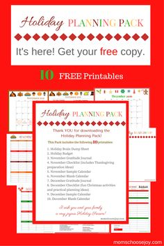 Are you feeling overwhelmed by holiday planning? This 2016 Holiday Planning Pack is for YOU if Christmas planning, Thanksgiving dinner, your holiday budget or other planning issues have you feeling stressed. As a bonus, it includes a gratitude journal to help keep you focused on what's most important this holiday season. Request your FREE holiday planner now!