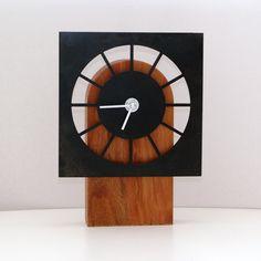 """Table Clock Black"" wood & steel clock created by artist John Nalevanko."