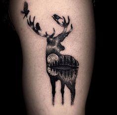 Moon Deer Tattoo
