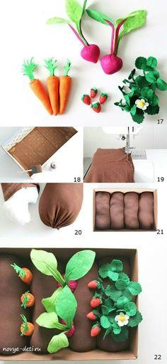 Оригинальная игрушка из фетра для детей «Овощная грядка» своими руками. Мастер-класс с подробным описанием.