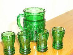 Depression or Elegant Toy Glass Beverage Set, Dark Emerald Green, 5pc Set
