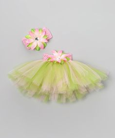 Take a look at this Pink & Apple Green Floral Tutu Set - Infant, Toddler & Girls by Bride and Babies on #zulily today!