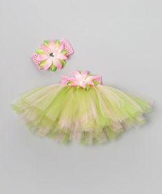 Loving this Pink & Apple Green Floral Tutu Set - Infant, Toddler & Girls on #zulily! #zulilyfinds