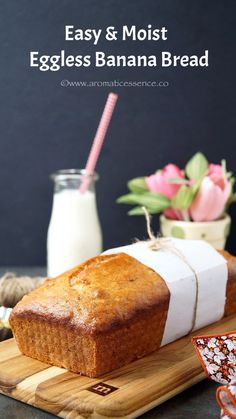 This easy banana bread recipe yields a moist soft delicious bread and has alovely banana flavor.The only recipe you need to make the best eggless banana bread Eggless Desserts, Eggless Recipes, Eggless Baking, Dessert Recipes, Eggless Banana Cake Recipe, Vegan Recipes, Healthy Recepies, Dessert Bread, Recipes