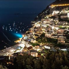 #Positano at night. (For my #photography friends; shutter open for 30 seconds f8)