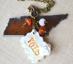 Tennessee+Love++Charm+Necklace++Tennessee+VOLS++by+PeeGeeJewelry,+$26.00