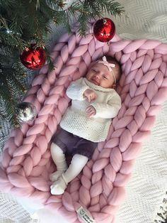 Manta de PUNTO GRUESO. 100% lana de merino. Hecho por WoollycloudUS
