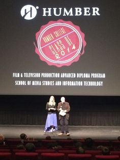 Eva Ziemsen and Michael Glassbourg, Program Coordinators of the Film & Television Production program doing their opening speech at the screening night of the class of 2014 at the TIFF Lightbox.