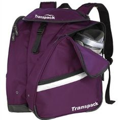 """Transpack XT Pro Boot Bag Backpack Transpack. $109.95. Isosceles Storage System, carries your Boots, Helmet and Gear - Capacity 3000 cu. in. / 49L. Side boot pockets with air/water drainage grommets. Coated water resistant central compartment for gear. nylon. 8.00"""" high. 12.00"""" wide. Fabric: Super tough, water resistant coated 1680 ballistic nylon. Contoured yoke,  adjustable neoprene comfort shoulder straps,. Closed cell foam padded mesh back with wallet pocket..."""