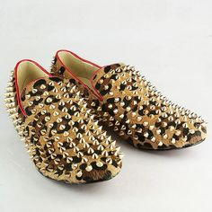 Louboutin Men shoes leopard pony hair rollerball spikes loafer