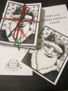 "Baby Owl and Santa Christmas Cards; Pack of 10 cards (with envelopes) for $9.00. Hand-drawn (by me!) in black ink, printed on 4.25"" x 5.5"" white card stock, package bound with ribbon. Shows baby owl perched on edge of Santa Claus' hat; Santa with a sideways grin and snowflake pattern in background. Holiday message inside."