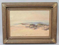 Good-Antique-c1900-Luminist-Seascape-Oil-Painting-for-Restoration-Framed