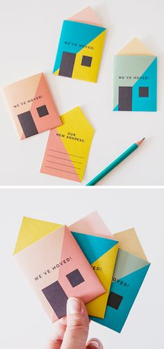 Graphic Design - Graphic Design Ideas - 'We're moving' cards. Graphic Design Ideas : – Picture : – Description 'We're moving' cards. Logo Design, Typography Design, Print Design, Branding Design, Design Web, Envelopes, Diy Paper, Paper Crafts, Do It Yourself Inspiration