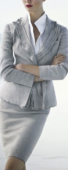 Donna Karen...I love the gray suit for a Summer...maybe not the points on the blouse