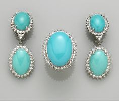 A suite of turquoise, diamond, blue stone and eighteen karat white gold jewelry