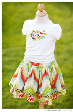 skirt with matching print on T (matching bows as well)