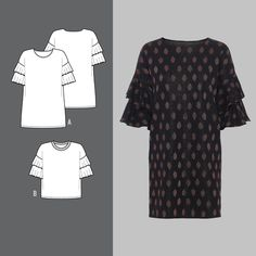 Kjole og bluse med volang Short Sleeve Dresses, Dresses With Sleeves, Diy Clothes, Pure Products, Inspiration, Fashion, Biblical Inspiration, Moda, La Mode
