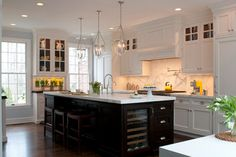 Black Island White Cabinets Kitchen Design Ideas, Pictures, Remodel, and Decor - page 4