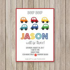 A personal favorite from my Etsy shop https://www.etsy.com/listing/538750165/car-birthday-party-invitation-car-bday
