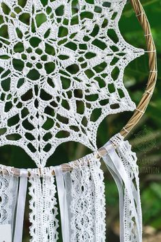 Beautiful White bohemian style Doily Dreamcatcher from Graphic Meditation collection. Made for order.