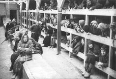 A harrowing photograph shows prisoners who survived the Nazi German Auschwitz death camp in Oswiecim, Poland, in their barracks shortly after the camp was freed.