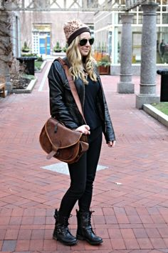 @Free People  #leopard #beanie @T.J.Maxx #combatboots @Forever 21 #leatherjacket @· ZARA · #black #skinnyjeans #outfit #style #ontrend