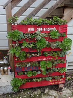 Gorgeous vertical succulent garden art with painted love notes