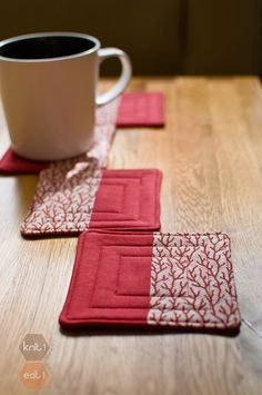 Another thought for party favors- in your wedding colors perhaps? :) I could sew them. (Quilted Coasters In Coral by Knit1Eat1 on Etsy, $16.00)