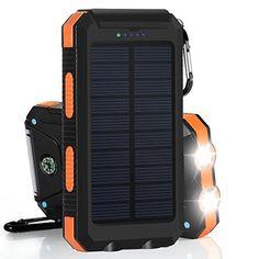 10000mAh Cargador Solar Impermeable, Batería Externa Portátil con 2 LED para para iPhone, Android Smartphone, Tables y Otros Dispositivos Digitales - http://cargadorespara.com/comprar/solares/10000mah-cargador-solar-impermeable-bateria-externa-portatil-con-2-led-para-para-iphone-android-smartphone-tables-y-otros-dispositivos-digitales-2/