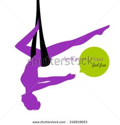 Yoga aerial Logo Design | Vector illustration of Anti-gravity yoga poses woman silhouette ...