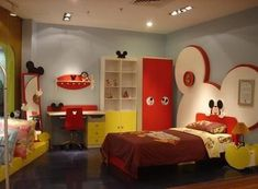 Mickey Mouse bedroom ideas - Minnie Mouse bedroom decor - Mickey Mouse bedding - Minnie Mouse Bedding - Mickey Mouse wall decals - Mickey Mouse Comforters - Disney home decor - Mickey & Friends - Mickey Mouse furniture - Minnie Mouse wall decals - Mickey Disney Kids Rooms, Disney Bedrooms, Kids Bedroom Designs, Kids Room Design, Bedroom Kids, Bedroom Themes, Bedroom Decor, Bedroom Furniture, Furniture Sets