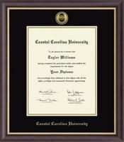 Coastal Carolina University Diploma Frame - Features a two-toned medallion of your school seal set into 23K gold and presented on black and gold museum-quality matting, with the school name embossed in gold. The Hampshire moulding is crafted of hardwood with a dark espresso satin finish and gold inner lip.