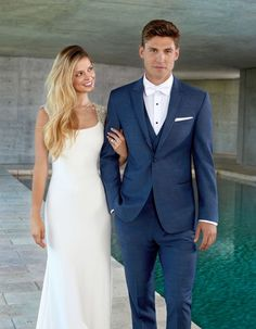 The Ceremonia Wedding Tuxedo Rental is a slim suit tailored in a soft, super fine wool blend. Blue Groomsmen Suits, Navy Blue Tuxedos, Blue Suits, Blue Suit Groom, Indigo Blue Suit, Groomsmen Outfits, Groom Suits, Mens Suits, Blue Tuxedo Wedding