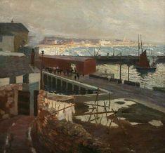 Charles Simpson 1885 - 1971 Newlyn School of Artists Penzance Cornwall, School Painting, Art Uk, Local History, Travel Posters, Coastal, Art Gallery, Museum, Fine Art