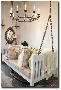 Hanging Porch Swing Seen On Southern Hospitality Blog  Can you see an old twin bed from this high end designer porch swing? Use existing bed frames to create this elegant look for your patio….