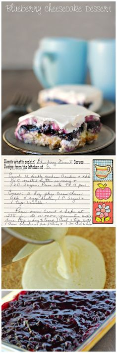 Easy and delicious blueberry cheesecake dessert recipe. Easy and delicious blueberry cheesecake dessert recipe. 13 Desserts, Blueberry Desserts, Cheesecake Desserts, Delicious Desserts, Dessert Recipes, Yummy Food, Bake Blueberry Cheesecake Recipe, Eat Dessert First, How Sweet Eats