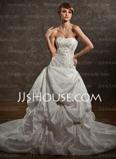 Wedding Dresses - $216.99 - Ball-Gown Sweetheart Chapel Train Taffeta Wedding Dress With Embroidery Ruffle Beadwork (002000491) http://jjshouse.com/Ball-Gown-Sweetheart-Chapel-Train-Taffeta-Wedding-Dress-With-Embroidery-Ruffle-Beadwork-002000491-g491