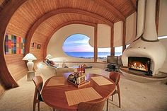 Located in a small enclave of eclectic beach homes, twenty minutes North of Santa Barbara, California, this eighty feet of oceanfront accommodates an architectural masterpiece with spectacular views of the Pacific.