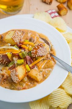 Bacon Double Cheeseburger Soup    A tasty and hearty soup with all of the flavours of a bacon double cheeseburger.
