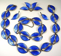 David Andersen Norway Blue Sterling Leaf Full Parure - Necklace Bracelet Earrings Brooch