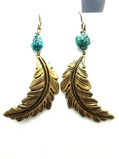 Green Turquoise chunk gemstone and Feather earrings, metal. Bronze jewelry. Bohemian. McKee Jewelry Designs