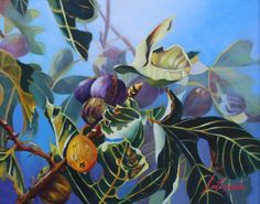 """Vibrant colors for the depiction of lusciously sweet figs. With a clear foreground and a subdued background achieved through the handling of values and light, """"Figs/Blue Haven"""" is an oil painting by Joyce E. Lazzara from Florida and part of the upcoming NOAPS Exhibition http://www.noaps.org/html/sa_exhibitions.html"""