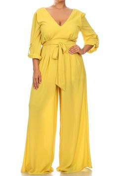 Description - Plus size solid roll-up sleeve relaxed fit wide leg jumpsuit with v-neck, waist tie, and low v-back - Polyester - Fabric has no stretch - Partially lined - Imported Size Guide M Plus Size Jumpsuit, Black Jumpsuit, Fearfully Wonderfully Made, Plus Size Boutique, It Goes On, Roll Up Sleeves, Mellow Yellow, Dress Me Up, Jumpsuits For Women