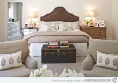traditional bedroom by Dayna Katlin Interiors. dressing up the foot of the bed in a master bedroom Master Bedroom Makeover, Master Bedroom Design, Dream Bedroom, Home Bedroom, Bedroom Furniture, Bedroom Decor, Bedroom Ideas, Master Bedrooms, Headboard Ideas