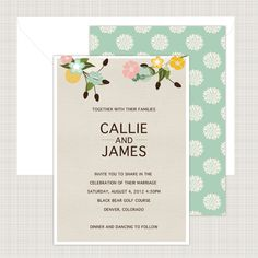 Featuring bright blossoming flowers, this wedding invitation from Printed Ink was inspired by a rustic wedding.